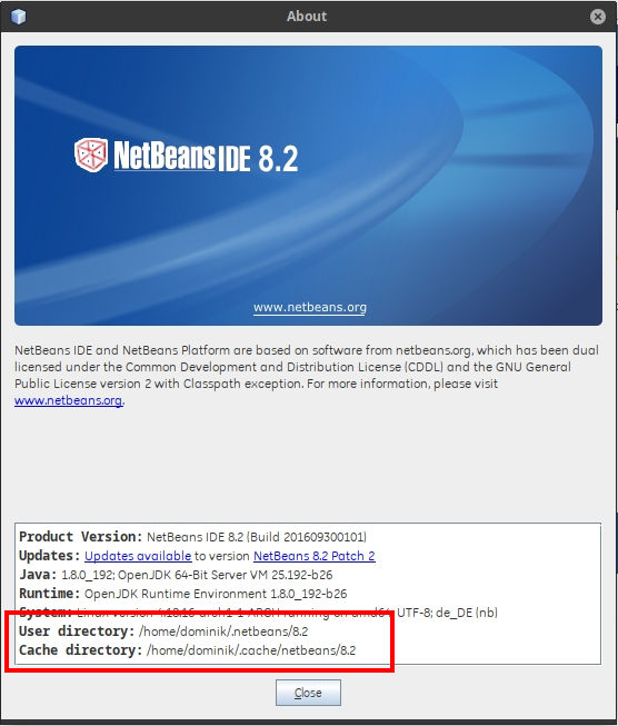 Netbeans 8.2 About Screen
